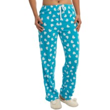 Polar Fleece Lounge Pants (For Women) in Blue/White Hearts - 2nds