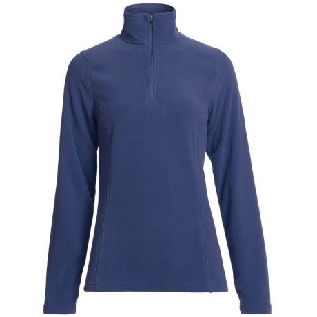 Polartec® Fleece Pullover Jacket - Zip Neck (For Women) in Blue Grey