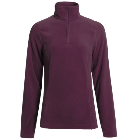 Polartec® Fleece Pullover Jacket - Zip Neck (For Women) in Dark Wine