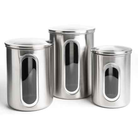 Polder Window Canister Set - 3-Piece, Stainless Steel in Brushed Stainless Steel - Closeouts