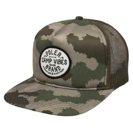 Camp Vibes Brand Trucker Hat (For Men and Women) in Green Furry Camo - Closeouts