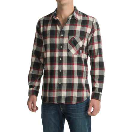 Poler Plaid Flannel Shirt - Long Sleeve (For Men) in Black/Brick Plaid - Closeouts