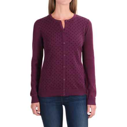 Polka-Dot Cardigan Sweater (For Women) in Burgandy Dot - 2nds