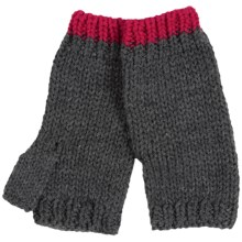 Poly-Acrylic Knit Fingerless Mittens (For Women) in Granite - 2nds