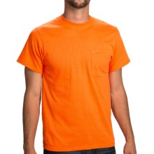 Poly-Cotton Jersey Pocket T-Shirt - Short Sleeve (For Men and Women) in Fluorescent Orange - 2nds