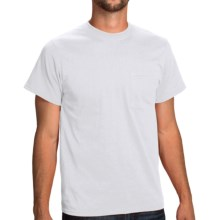 Poly-Cotton Jersey Pocket T-Shirt - Short Sleeve (For Men and Women) in White - 2nds