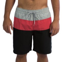 Polyester Swim Trunks - Inner Mesh Brief (For Men) in Black/Red/Grey - 2nds