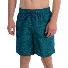 Polyester Swim Trunks - Inner Mesh Brief (For Men) in Blue/Teal Print - 2nds