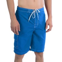 Polyester Swim Trunks - Inner Mesh Brief (For Men) in Blue - 2nds