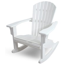 Polywood Seashell Adirondack Rocking Chair in White - Closeouts
