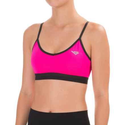 PONY Mesh Racerback Sports Bra - Low Impact, Removable Cups (For Women) in Pink Glow - Closeouts