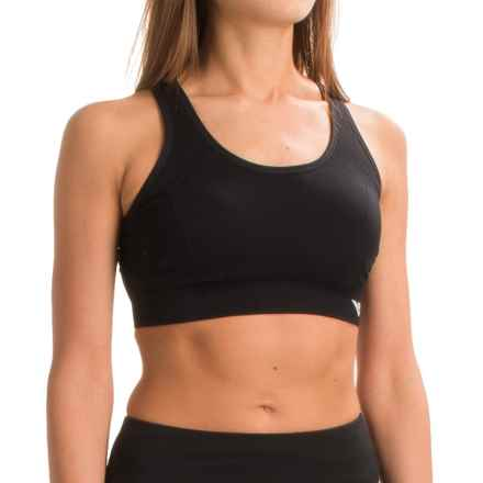PONY Seamless Sports Bra - Crisscross Straps, Removable Cups (For Women) in Black - Closeouts
