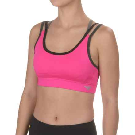 PONY Strap Sports Bra - Removable Cups, Medium Impact (For Women) in Pink Glow - Closeouts