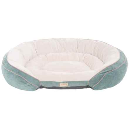 "PoochPlanet Grand Comfort Gel Memory Foam Dog Bed - 42x30"" in Turquoise"