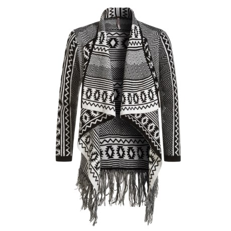Poof Aztec Motif Cardigan Sweater - Open Front (For Girls) in Black/Vanilla Ice Combo