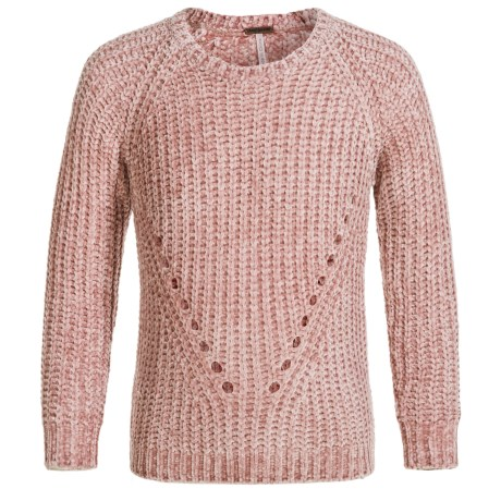 Poof Chenille Yarn Sweater - Crew Neck (For Girls) in Misty Rose