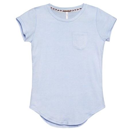 Poof Chest Pocket Shirt - Short Sleeve (For Girls) in Skyway/Eggwhite Marl