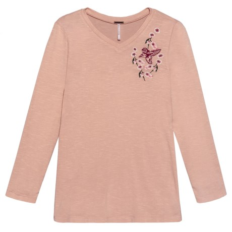 Poof Embroidered Bird Shirt - Long Sleeve (For Girls) in Blossom