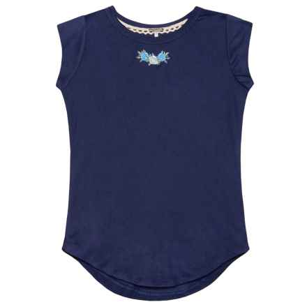 Poof Embroidered Flutter Sleeve Shirt - Short Sleeve (For Girls) in New Navy - Closeouts