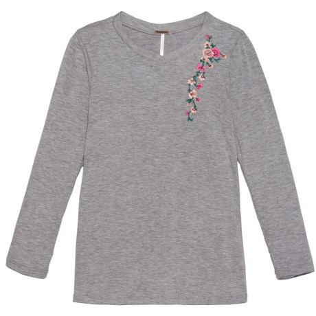 Poof Embroidered Shoulder Shirt - Long Sleeve (For Girls) in Heather Grey