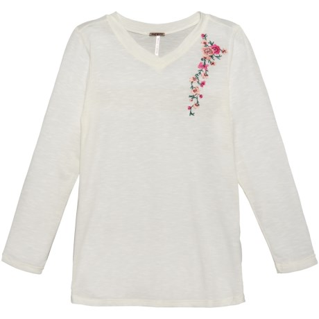 Poof Embroidered Shoulder Shirt - Long Sleeve (For Girls) in Ivory