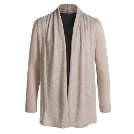 Poof Open Cardigan Sweater (For Girls) in Oxford Tan/Ivory Marl