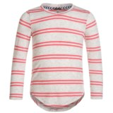 Poof Striped V-Neck T-Shirt - Long Sleeve (For Girls)