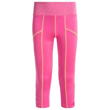 Poof Too Active Capris (For Big Girls) in Neon Pink/White Marl/Neon Yellow Stitch - Closeouts