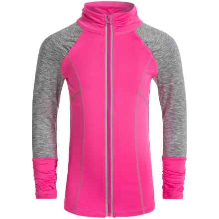 Poof Too Active Jacket - Zip Front (For Big Girls) in Neon Pink/Grey Space Dye - Closeouts