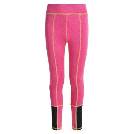 Poof Too Active Leggings (For Big Girls) in Neon Pink/White Marl/Neon Yellow Stitch - Closeouts