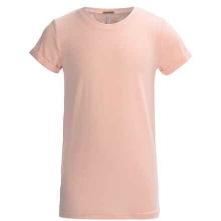 Poof Too Back Lace Shirt - Cotton-Rayon, Short Sleeve (For Big Girls) in Coral Heather - Closeouts
