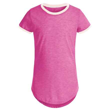 Poof Too Contrast Ringer Shirt - Crew Neck, Short Sleeve (For Big Girls) in Azalea Pink/Oatmeal Heather - Closeouts