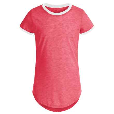Poof Too Contrast Ringer Shirt - Crew Neck, Short Sleeve (For Big Girls) in Coral/White - Closeouts