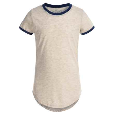 Poof Too Contrast Ringer Shirt - Crew Neck, Short Sleeve (For Big Girls) in White Heather/New Navy - Closeouts