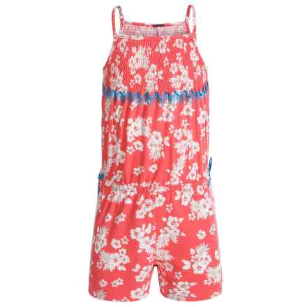 Poof Too Floral Print Romper - Sleeveless (For Big Girls) in Georgia Peach/Eggwhite - Closeouts