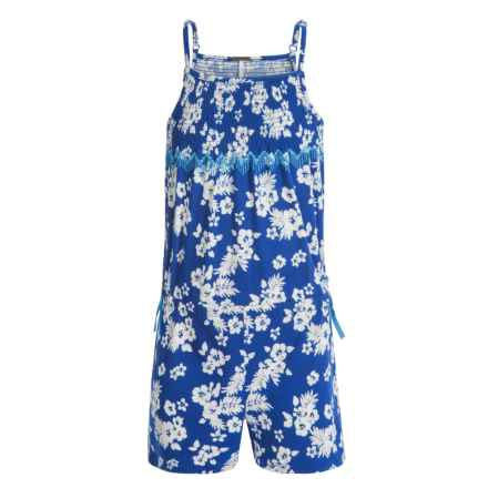 Poof Too Floral Print Romper - Sleeveless (For Big Girls) in Seablue/Eggwhite - Closeouts