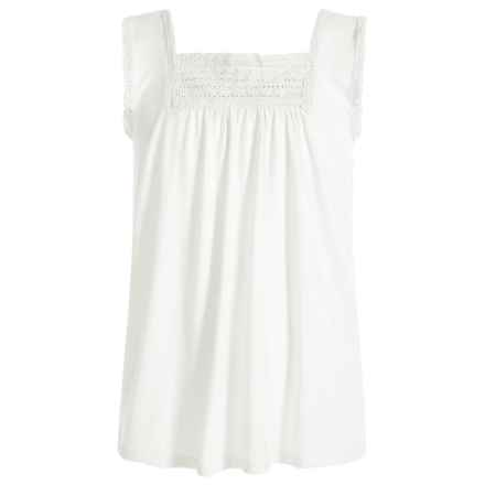 Poof Too Lace-Trimmed Tank Top (For Big Girls) in Egg White - Closeouts