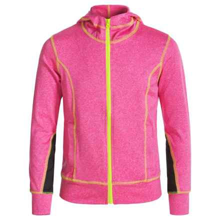 Poof Too Marl Hoodie - Zip Front (For Big Girls) in Neon Pink/White Marl/Neon Yellow Stitch - Closeouts
