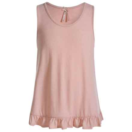 Poof Too Ruffle Hem Tank Top (For Big Girls) in Peach Whip - Closeouts