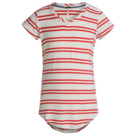 Poof Too Stripe T-Shirt - Cotton-Rayon, Short Sleeve (For Big Girls) in Eggwhite/Hot Coral - Closeouts