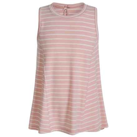 Poof Too Striped Tank Top (For Big Girls) in Peach Whip/Egg White - Closeouts
