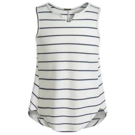 Poof Too Waffle-Knit Tank Top - Notched Hem (For Big Girls) in Egg White/New Navy - Closeouts