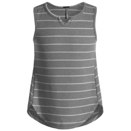 Poof Too Waffle-Knit Tank Top - Notched Hem (For Big Girls) in Grey Heather/Egg White - Closeouts