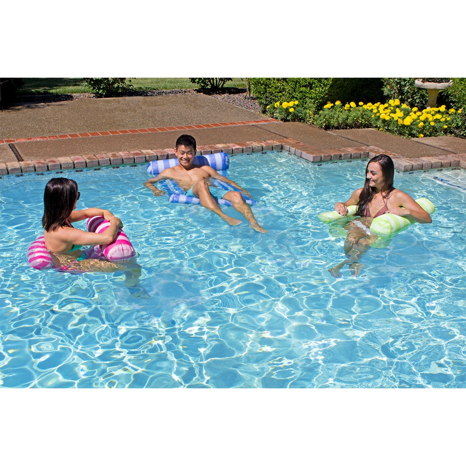 vinyl p the depot lounger orange assorted floats blue yellow pool hammock home poolmaster water and