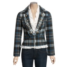 POP School Boy Coat - Button-Out Ruffle Trim (For Women) in Teal Plaid - Closeouts
