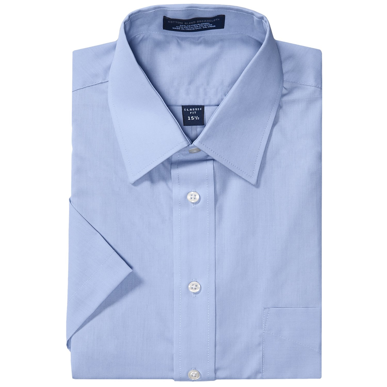 Poplin dress shirt short sleeve for men save 55 for Light blue short sleeve shirt mens
