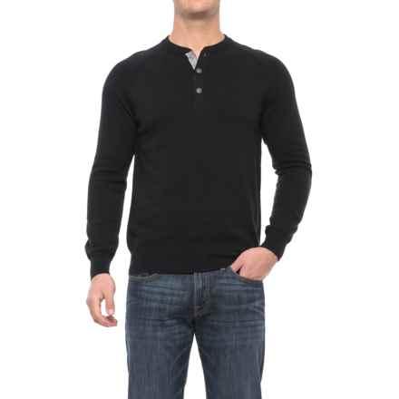 Porter & Ash Porter Ash Space-Dye Henley Shirt - Cotton, Long Sleeve (For Men) in Black Solid - Closeouts