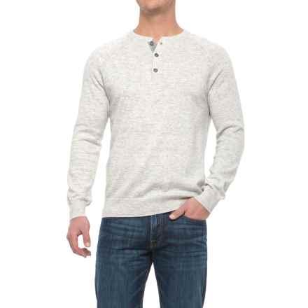 Porter & Ash Porter Ash Space-Dye Henley Shirt - Cotton, Long Sleeve (For Men) in Cream Space Dye - Closeouts