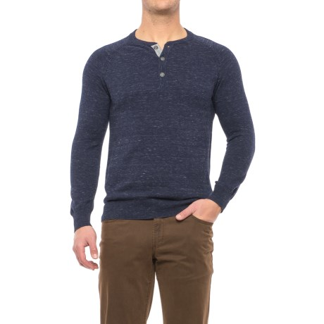 Porter Ash Space-Dye Henley Shirt - Cotton, Long Sleeve (For Men) in Navy Space Dye