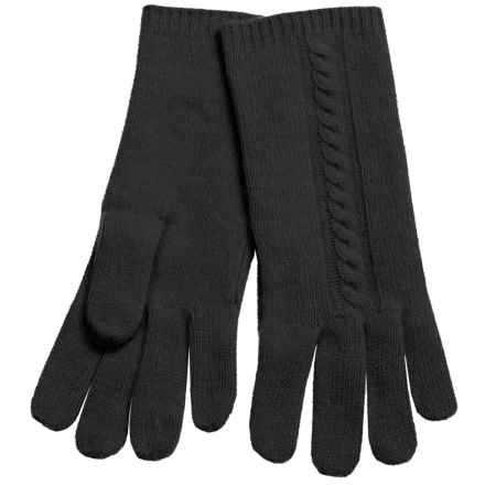 """Portolano 10"""" Cashmere Gloves - Cable-Knit Detail (For Women) in Black - Closeouts"""